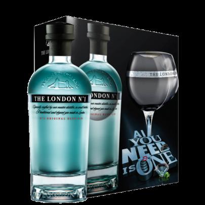 The London N°1 Original Blue Gin  Geschenk-Set mit Glas